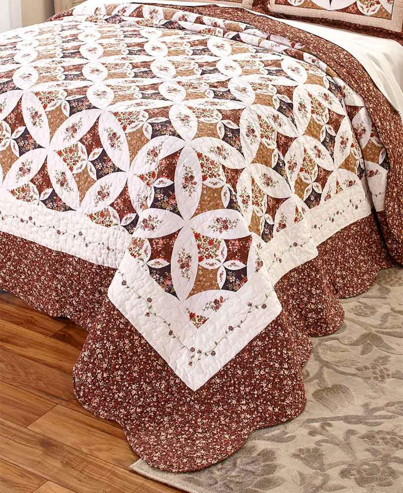 1-PC SPICE KING OVERGrößeD GEORGIA BED QUILT CLASSIC WEDDING RING PATTERN