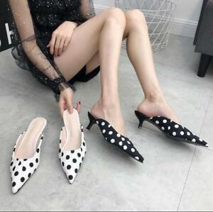 Womens-Sexy-Pointed-Toe-Sandals-Kitten-Heels-Slip-On-Casual-Shoes-Mules-Size-New
