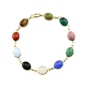 14K-Yellow-Gold-Handmade-Scarab-Bracelet-With-Oval-Shaped-Gemstones-8-Inches