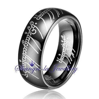 SOLID MENS BLACK TUNGSTEN CARBIDE LORD OF THE RINGS 8MM RING NEVER TARNISH JS005