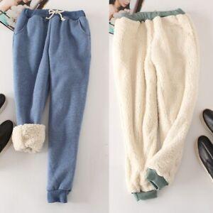 Womens-Fleece-Lining-Sweatpants-Warm-Thicken-Pants-Harem-Casual-Trousers-Loosen