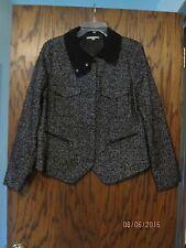 GAP Black & White Wool Blend Tweed Zip Jacket Size XL