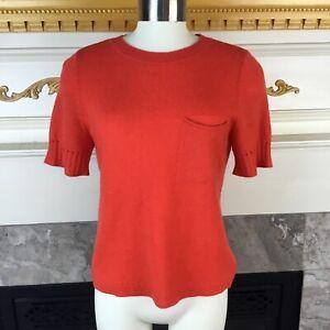 SUSINA-Womens-S-Orange-Short-Sleeve-Pocketed-Cashmere-Sweater