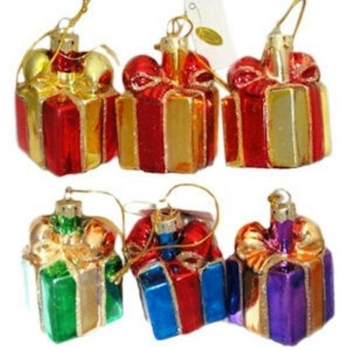 """Gay Pride GIFT ORNAMENTS Glass 2/"""" Rainbow Presents LGBT Boxed set of 6"""