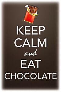 Keep-Calm-and-Eat-Chocolate-Tin-Sign-Shield-Metal-Tin-Sign-20-x-30-cm-CC0477