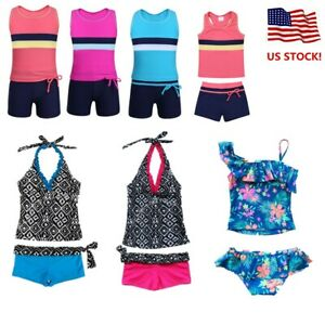 US-Girls-Swimwear-Halter-Two-Piece-Tankini-Kids-Swimsuit-Beach-Bathing-Suit