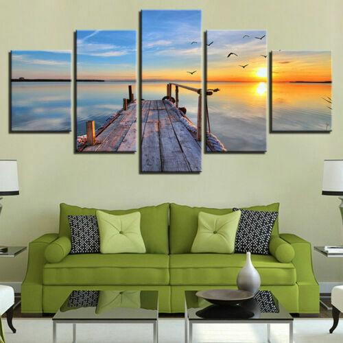 Romantic Wooden Bridge Painting 5p Canvas Print Relax Poster Wall Art Home Decor