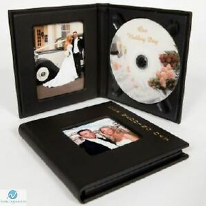 1 small single cd dvd wedding photo album case with gold lettering