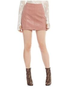 247fad8bc1 Free People Modern Femme Faux-Leather Mini Skirt, Rose, size 8 | eBay