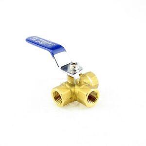 1/4'' Brass 3 Way Ball Valve Full L-Port FemaleThread for Water, Oil, Gas New