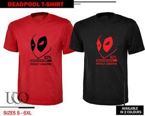 a253eddb Deadpool T-Shirt Top Super Hero Insult Loading Funny Comic Red Black ...