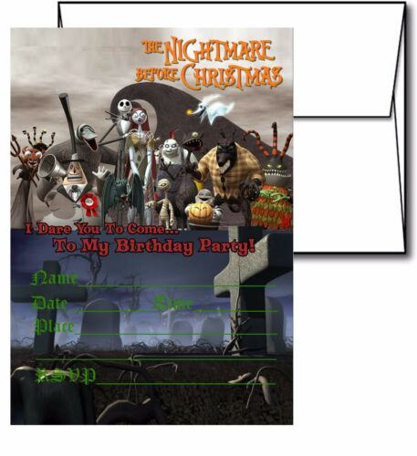 12 White Envelops Included 12 Nightmare Before Christmas Invitation Cards #2