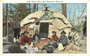 Light-House-Point-1864-Marquette-MI-Native-American-Indians-c1920s-Postcard