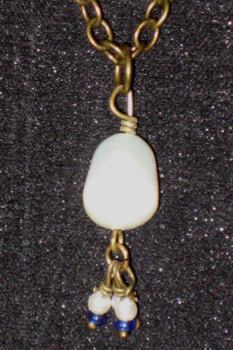 Natural Life Necklace CLEARANCE Painted Metail BFF Teardrop Pearl Amber Crystals