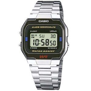 Casio-Uhr-A163WA-1Q-Retro-Digitaluhr-Armbanduhr-Herren-Damen-Schwarz-NEU-amp-OVP