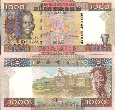 2006 Girl//Ore Mining//p40 UNC Guinea 1000 Francs