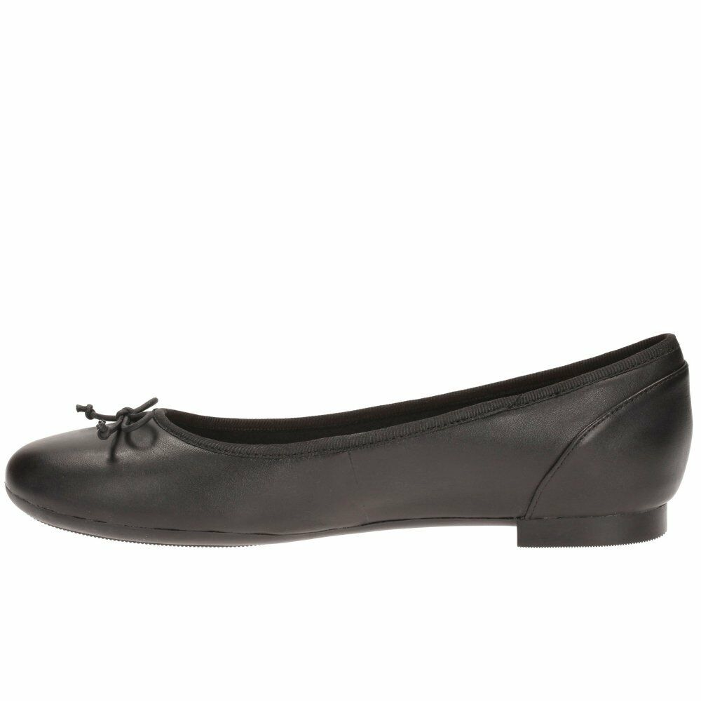 R38A Clarks COUTURE BLOOM Ladies Ballerina Style Shoe Black Leather KETT