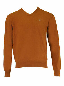 GANT-Men-039-s-Rust-Solid-Cotton-V-Neck-Sweater-83062-Size-Medium-NWT