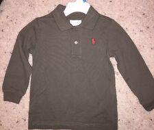 Ralph Lauren Polo Baby Boy Long Sleeve Cotton Pique Polo Shirt Olive 12 Months