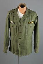 Vtg Vietnam War Cotton Sateen Fatigue Shirt sz L In Country Made Patch #2096