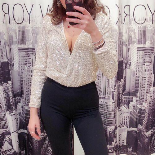 Body donna maglietta maglia sottogiacca scollato festa party pailettes sera 2845