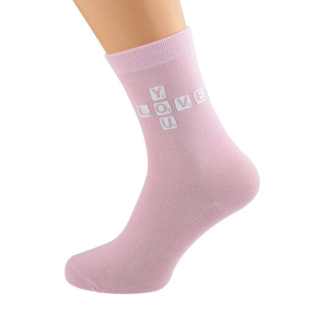 Love You Tile Valentines Design Ladies Pink Socks UK Size 4-8 X6N201