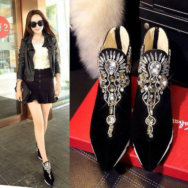 Womens Ankle Boots Rhinestone Dedge High Heel Pointy Toe Casual Casual Casual Suede shoes Hot c67a0c