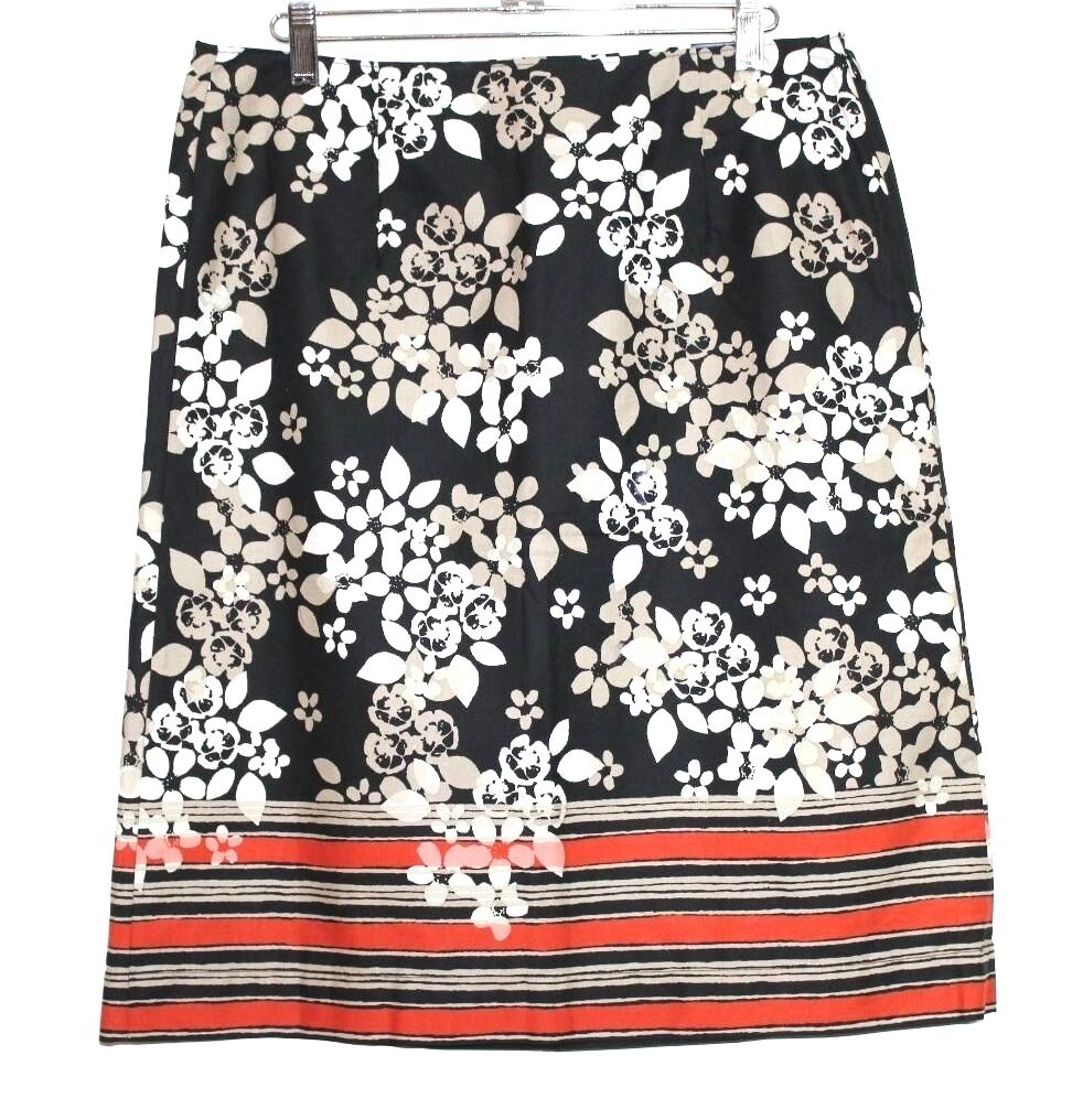 Bass - Womens 4 (S) - NWT - Multi-color Floral Striped Cotton Pencil Skirt