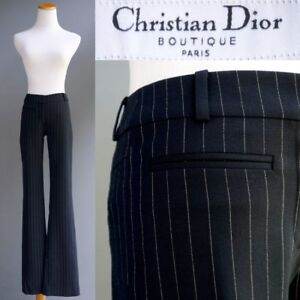 Christian-Dior-Wool-Pants-Cabaret-Sexy-Sphinx-Blue-Pinstripe-Silk-Lined-New-990