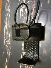 Rare Vintage Braided Black Leather Universal Police Radio Holder Belt Accessory