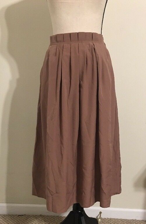 NEW JCREW Pleated midi skirt Size10 C0776 In Mgoldccan Brown