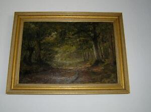 Antique-Original-Oil-Painting-Impressionism-Path-by-Siegrist-ARTIST-30-034-x-23-034
