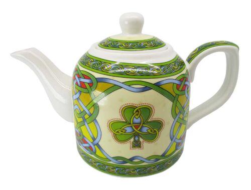 Celtic Shamrock Bone China Teapot Colorful Celtic Knot Design Irish Luck 22fl oz