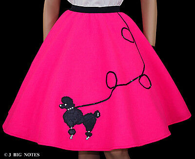 """37/"""" 3-Pc Neon Pink Poodle Skirt Outfit /_ Adult Size MEDIUM /_ Waist 30/"""""""