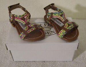 49e79fa5d1e Details about NIB Steve Madden Whisley Toddler Grils Slide Sandals 6 Cognac  Multi MSRP$40