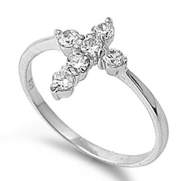 .925 Sterling Silver .60ct Simulated Diamond Size 7 Cross Ring S67