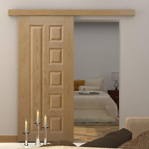 Sliding Barn Door Kit Hardware Track Closet Single Wooden