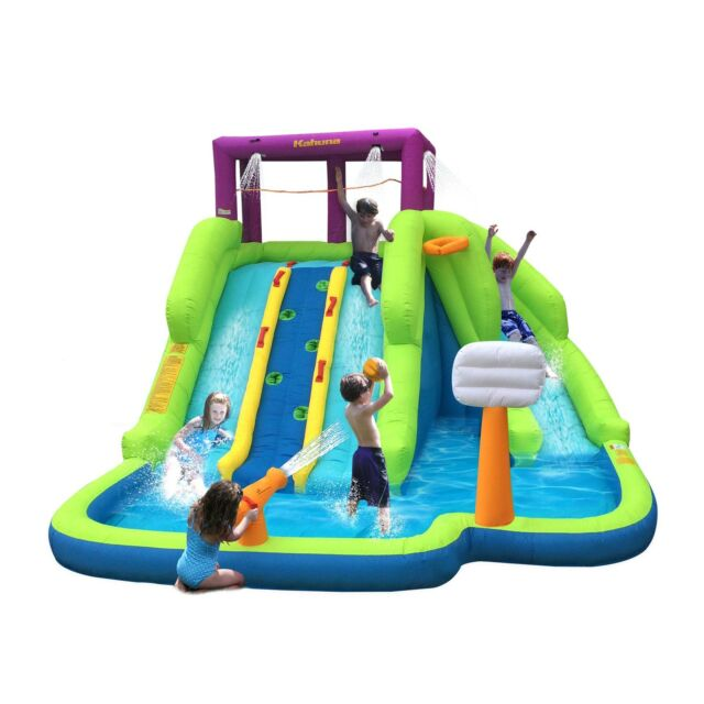 Kahuna 90360 Triple Blast Outdoor Inflatable Splash Pool Backyard Water  Slide