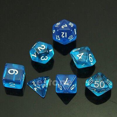 7-Dice Sided D4 D6 D8 D10 D12 D20 Magic-the-Gathering D&D RPG Poly Game Set Blue