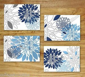 Blue Navy Gray Wall Art Picture Prints Decor Floral Kitchen Bathroom Bedroom Ebay
