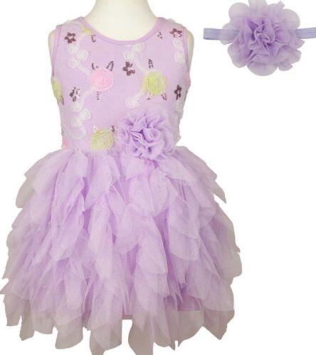 Popatu Girl/'s Tutu Sequin Dress with Headband Purple  Sz 2t 3t    ret $48