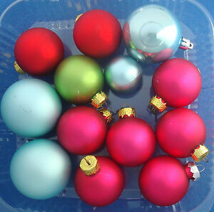 "lot of 13 ball Christmas oraments hot pink teal red green 2½"" to 1½"" size"
