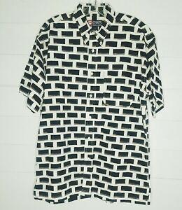 Chaps-Ralph-Lauren-Mens-Large-Colorblock-R-logo-print-F-B-Button-Down-Shirt