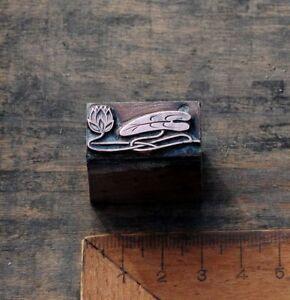 SEEROSE-Kupferdruckstock-Galvano-Druck-Klischee-Jugendstil-Art-Nouveau-Deco-vtg