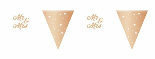 rose gold // weiß ca Wimpelkette Mr /& Mrs 6 Meter