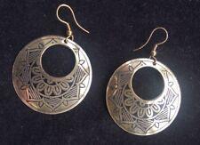 BohoCoho Quirky Boho Gypsy 70s style ethnic silver tone Summer Hoop earrings