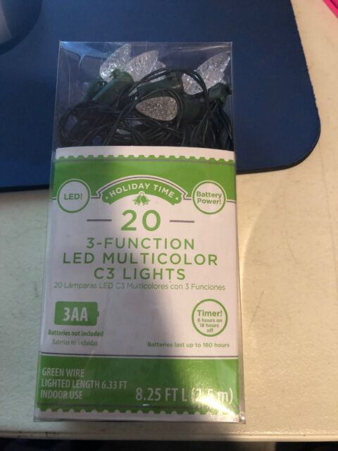 Holiday Time 20 Counts Warm White 3 Function Led C3 Lights Green Wire Battery B4