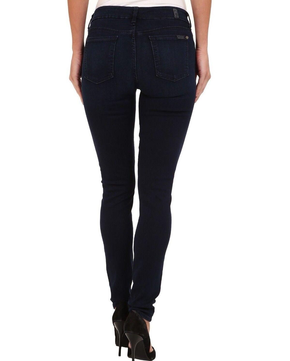 Nwt 7 für Alle Sz26 Zweite Haut Midrise Contour Twill Jeans Marineblau Blau