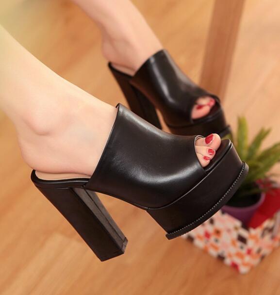 Sexy Bout Ouvert Plateforme Talon Bloc Haut Femmes Sandale formelle Parti Chaussures en cuir