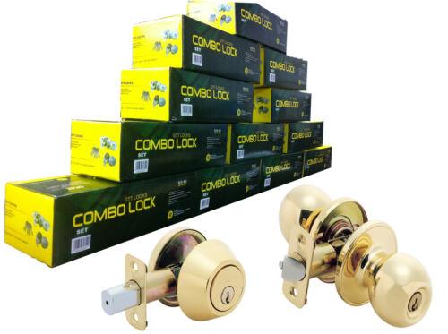 Entry Knob + Deadbolt 36 Keys Lot of 6 Sets Keyed Alike Brass Combo Lock Set